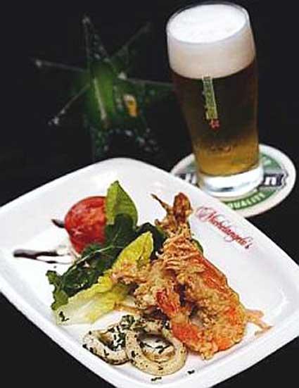 Heineken with deep fried seafood combo